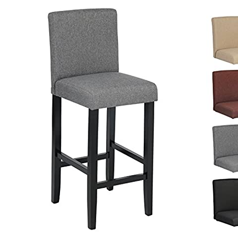 Woltu BH64dgr-1 1x Linen Wood Bar Stool with Dark Grey Seat Wooden Bar Stool Wood Chair with High Back luxury Padded