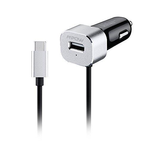 Caricatore da Auto Mpow Caricatore da Auto Portatile Premium USB Uscita Caricabatterie per Auto con il Cavo Tipo C, USB Type C per Smartphone e Tablet