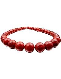 Collar de bolas de colar con enganche de plata 925, color rojo oscuro.