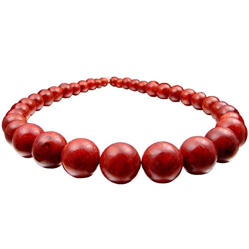 Kette Collier aus Koralle Korallen im Verlauf 925 Silber rot-braun dunkelrot Halskette für Damen