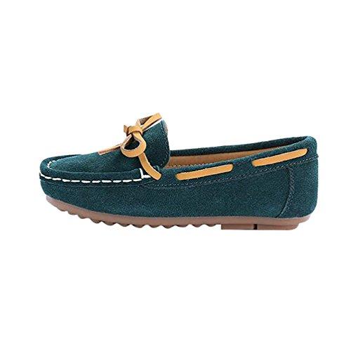 Dunkel Braun Wildleder Kinder Schuhe (YiJee Freizeit Mokassins Jungen Mädchen Flache Schuhe Comfort Loafers Bootsschuhe Dunkel Grün 27)