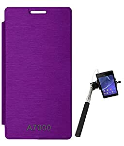 TBZ Flip Cover Case for Lenovo A7000 with Selfie Stick Monopod with Aux -Purple