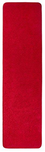 Misento 292115 Shaggy - Alfombra para pasillo (pelo largo, 67 x 250 cm), color rojo