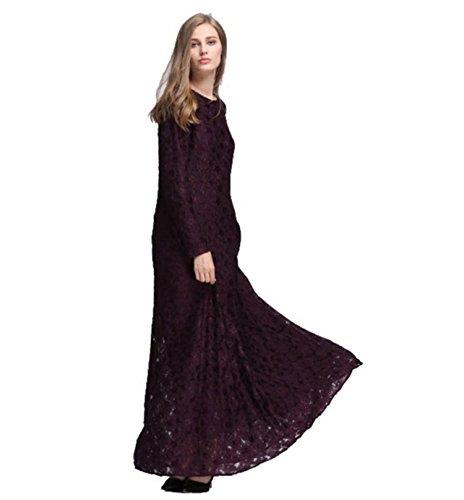 Dreamskull Muslim Abaya Dubai Kleid Muslimisch Islamisch Arabisch Abendkleid Kaftan Kleidung Maxikleid Spitze Damen Frauen Indien Casual Abendmode 065Dunkelbraun