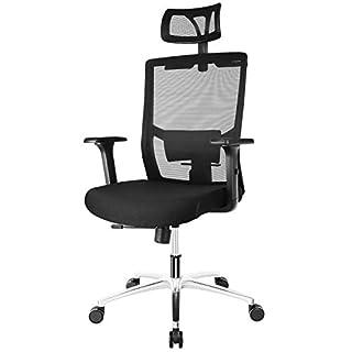 Fixkit Bürostuhl, Ergonomischer Bürostuhl, Schreibtischstuhl, 360°Drehen mit Einstellbare Kopfstütze Armlehnen, Höhenverstellung und Wippfunktion, Tragkraft bis 150kg (schwarz)
