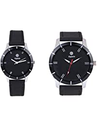 Rabela Women's and men's Analog Watch Black Dial leather strap Watch VAL001