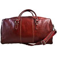 Borsone uomo donna borsa viaggio con manici e tracolla vera pelle rosso borsa palestra borsa cabina pelle made in Italy