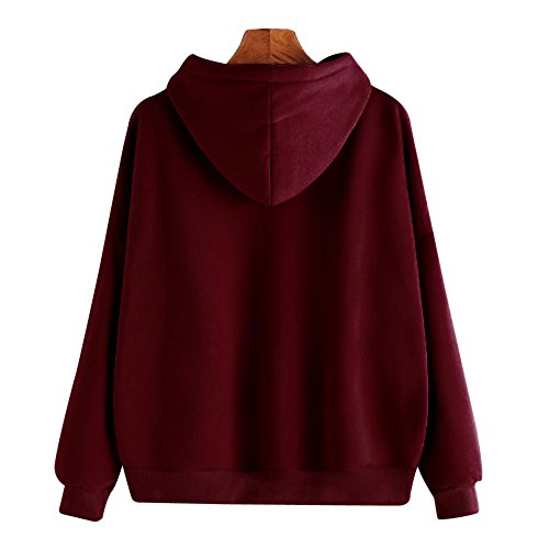 Femme Sweatshirt Lonshell mesdames solide sweat occasionnels pull haut chemisier WS06 Vin Rouge