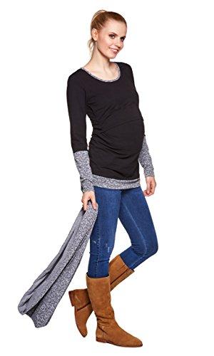 Be Mama! 3in1 Umstandsshirt, Stillshirt und Stillschal im Set: TEMI, lang- oder kurzarm, FARBAUSWAHL Langarm/Schwarz mit Grau-Muster