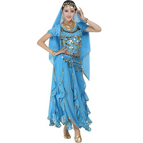 TianBin Volkstanzkostüm Tanzkostüm Bauchtanz-Kostüm Set für Damen Pailletten Top Volant-Rock (See Blau#6, One Size)