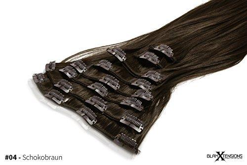 Meralens Clip In Extensions Haarverlängerung hitzebeständig wie Echthaar XXL Haarteile Set glattes Haar in 60 cm Länge #04 Schokobraun Kanekalon (Dunkles Haar Extensions Echthaar)