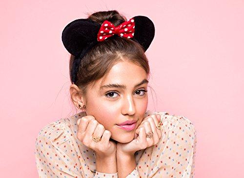 Disney Minnie Mouse rocas grandes lazo chapado en oro rosa Pendientes
