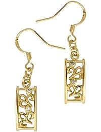 Boucles d'oreilles pendantes - Plaqué or - Oxyde de Zirconium - 1200488
