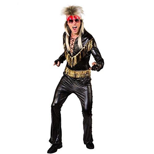 Sänger Kostüm Gr. 50/52 Oberteil Hose Glanzstoff Rocker Musiker 80er - Rock Musiker Kostüm