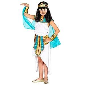 WIDMANN 09417 - Disfraz infantil de reina agíptica (140 cm), color blanco y turquesa