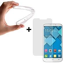 WoowCase | Funda Gel Flexible para [ Alcatel One Touch Pop C9 ] [ +1 Protector Cristal Vidrio Templado ] Ultra Resistente contra Arañazos y Golpes Dureza 9H, Carcasa Case Silicona TPU Suave