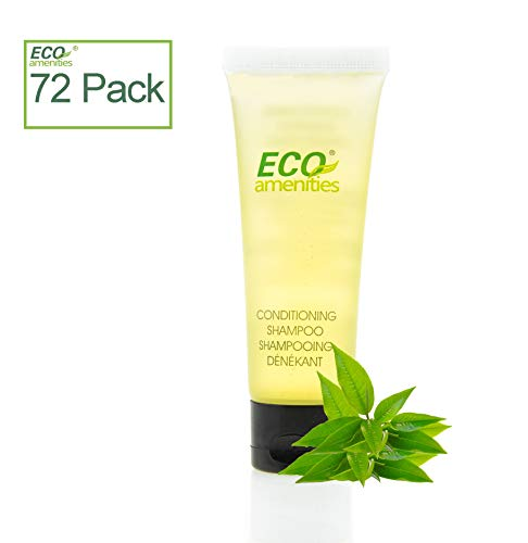 Ea Tube (ECO AMENITIES Transparent Tube Flip Cap Individually Wrapped 30ml Shampoo & Conditioner 2 in 1, 72 Tubes per Case by H2O)