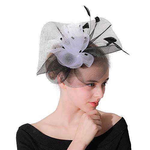 MELLRO Cocktail Haarband Feder Kopf Blumen Kopfschmuck Damen Hochzeit Tag Spiel Royal Derby Hut Damenbekleidung (Der Spielen Halloween In Kirche Spiele)