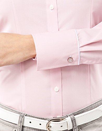 Vincenzo Boretti Damen Bluse Tailliert 100% Baumwolle Bügelfrei Langarm Hemdbluse Elegant Festlich Kent-Kragen Auch für Business und Unter Pullover Altrosa