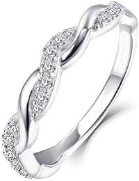 82d77575676 Starchenie Bague Croisée en Forme de Croix en or Blanc 9 14 18 Carats avec  Diamants pour Bagues de Fiançailles…