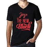 Uomo Maglietta Tee Vintage V-Collo T Shirt Joga Is The New Black Profondo Nero Testo Rosso