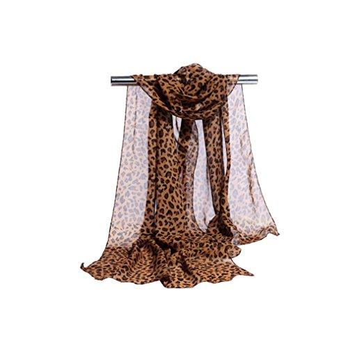 Tuch Leopard (OverDose Frauen Fashion Leopard Print weichen Chiffon Frauen Schal Stola Schal Schals Halstuch winterschal Schlauchschal,D)