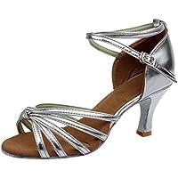 LILICAT✮ Zapatos de Baile Latino anudados Superiores Zapatos de Baile de tacón Alto Zapatos de Baile Latino de niña Zapatos de satén medianos Zapatos de Baile de Salsa de Tango
