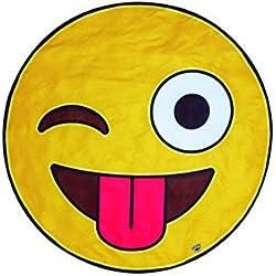 BigMouth Inc. – Toalla Playa Emoji Gigante – XXL Redonda Bano Alfombra