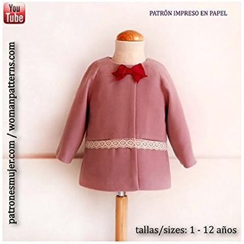 Patrón de costura abrigo niña trapecio, con vídeo-tutorial para realizarlo. Talla 1 a 12 años. Patrón multitalla en
