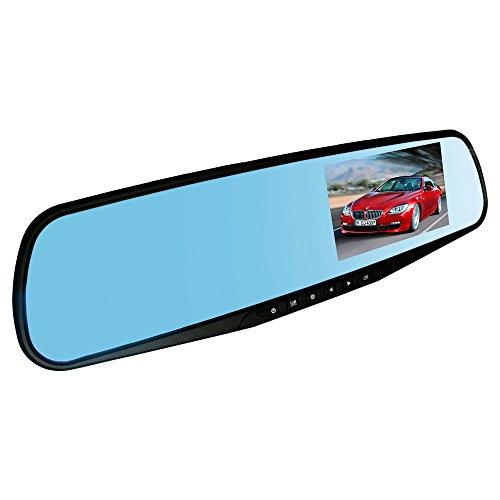 4.3Dual Lens Video Recorder Dash Cam Specchietto Retrovisore della macchina waterproofdvr Rear View Camera (Lens Lente Pieghevole)