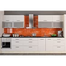 Küchenzeile Küchenblock Korpus jersey / Front weiss Hochglanz 340 cm