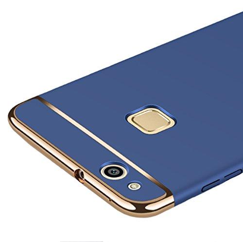 Huawei P10 Lite 5,2 Zoll Hülle, MSVII® 3-in-1 Design PC Hülle Schutzhülle Case Und Displayschutzfolie für Huawei P10 Lite 5,2 Zoll (Nicht mit Huawei P10 kompatibel) - Schwarz JY50017 Blau