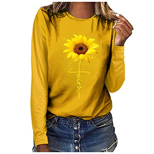 Bluse Tops Pullover,Honestyi Damenmode Plus Size Print Rundhals Langarm T Shirt Bluse Tops Damenmode große Rundhals Langarm-T-Shirt(Gelb,XXL)