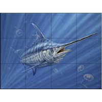 Ceramic Tile Mural - Out of the Blue- by Don Ray - Kitchen splashback / Bathroom shower