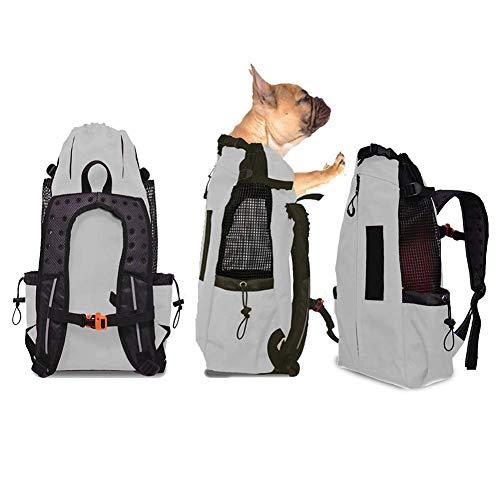 Hunderucksack, Komfortrucksack-Tragetasche, Oberseite Offen, Weiche Seite, Atmungsaktives Netz für Reisen, Wanderabenteuer, Camping im Freien, für mittelgroße kleine Hunde,Grau,XL