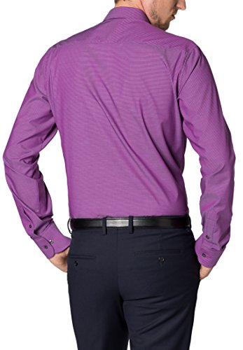 ETERNA long sleeve Shirt SLIM FIT Stretch checked Lilla