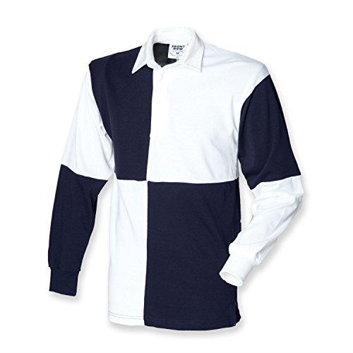Front Row Langarm Rugby Shirt geviertelt, vers.Farben White / Navy