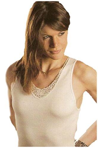 Canotta maglia spalla larga donna misto lana (4°(media), nero)