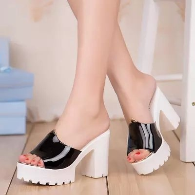 LGK&FA Scarpe Donna Cool Pantofole Tacchi Alti Rimorchio Tacco E Bocca Di Pesce Moda Sandali Ciabattine 38 Rosa 37 black