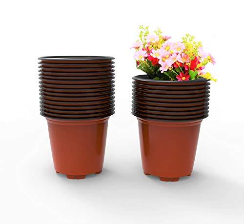 100 Stück Premium Pflanzentöpfe mit 10 Steckettiketten für Kräuter und Blumen - Kunststoff Pflanztöpfe mit den Maßen 10 * 10 * 9 cm - Pflanzentopf Blumentopf klein aus Plastik für Indoor und Draußen