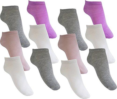 12 Paar Mädchen Sneaker Kinder Socken 95% Baumwolle Bunter Mix Gr. 31-34 (MC215 31-34)