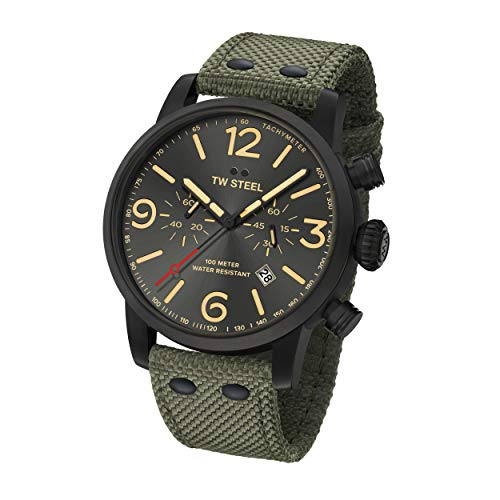 TW Steel Unisex Erwachsene Chronograph Quarz Uhr mit Stoff Armband MS124