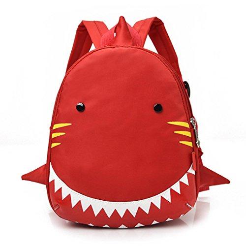 Rot Korb Geflochtenem Leder (zahuihuiM Niedlich Haifischmuster Tierrucksack Kleinkind-Schulbeutel zum Baby Jungen Mädchen Kinder (RD))