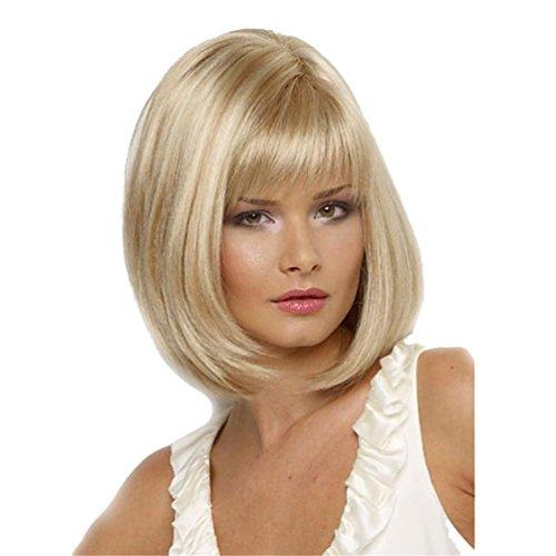 en der Frauen, Schulter-Längen-gerade natürliche weiche Bob-Perücke, blondes Haar (Beste Halloween Perücken)