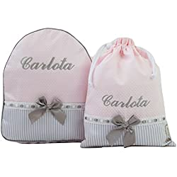 Conjunto guardería o Colegio: Mochila + Bolsa de merienda lenceras Personalizadas con Nombre en plastificado y Tela Rosa, Rayas Gris y pasacintas Gris