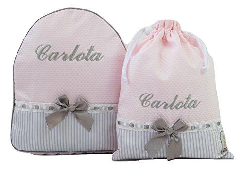 6a0f0447a Conjunto guardería o Colegio: Mochila + Bolsa de merienda lenceras  Personalizadas con Nombre en plastificado
