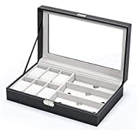 Jewelery Box & Watch Box Jewelry Storage Box Watch Box Organizer with Drawer Leather Case For Watch Jewelry Display, Leather + Fibreboard + Velvet, Black, W 34.6 x H 22.6 x L 11.2 cm