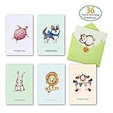 Grußkarten 36 Stück Karten Glückwunschkarte (6 Designs) mit 36 Umschlägen und 36 Aufkleber Klappkarten Geburtstagskarten Tiere Postkarten für Geburtstag, Hochzeit, Baby, Konfirmation, Geburt, Feier