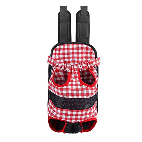 Hundetasche Pet Carrier Plaid Mesh Atmungsaktives Hündchen Rucksack Travel Carry Cat Hundetragetaschen (Size : Red L) (Mesh-plaid-rucksack)
