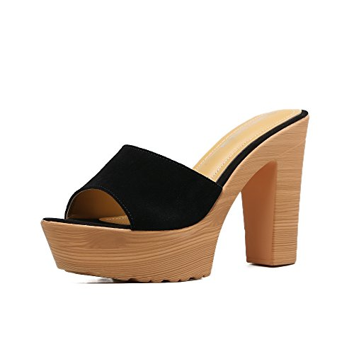 GTVERNH-pelle nera tacco alto bene le pantofole femmina spesso i tacchi spesso fondo impermeabilizzare scarpe da donna summer sandali.,39 Thirty-eight